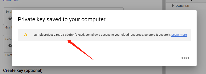 download and save Google Cloud Json Credential file