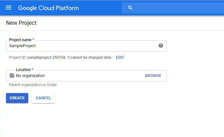 create Google cloud project